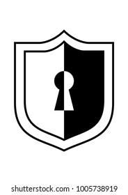 Keyhole in a shield black and white icon or logo