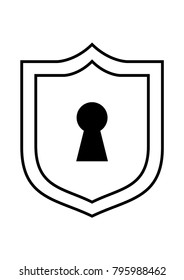 Keyhole in a shield icon or logo