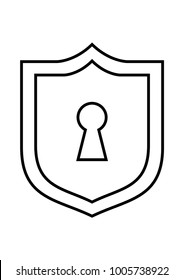 Keyhole in a shield white icon or logo