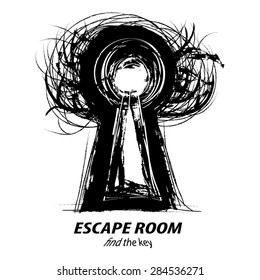 Keyhole Tree - concept illustration of Escape Room. Black grunge silhouette of Tree with Keyhole inside and text below. As icon,symbol,logotype,page design. Vector, Eps 10. Isolated on white.