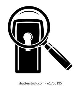 Keyhole under magnifier. Vector illustration