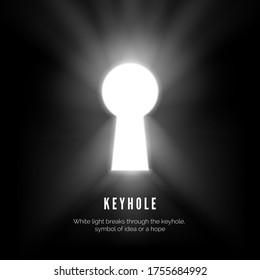 Keyhole. White light breaks through the keyhole symbol of idea or hope. vector illustration