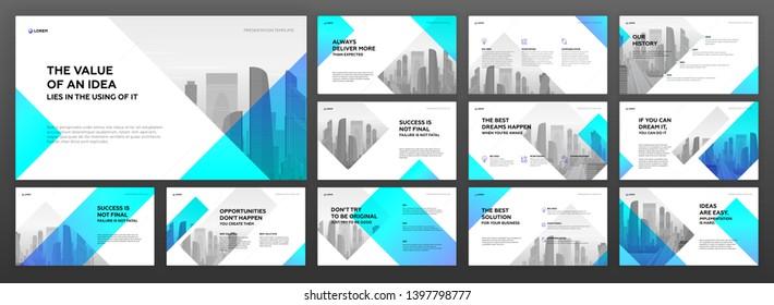 Keynote presentation templates set. Use for modern powerpoint presentation background, brochure design, website slider, landing page, annual report, company profile.