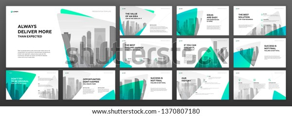 Keynote Presentation Templates Set Use Modern Stock Vector