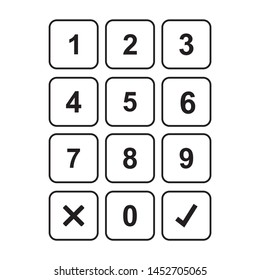 Keypad entry. Digital keypad, keyboard, dialer access vector illustration. Buttons with numbers isolated on white background.