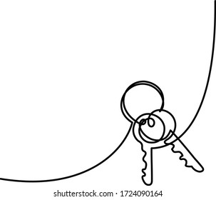 The keys continuous one line drawing,  vector illustration minimalism style