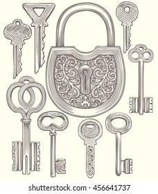 Keys. Design set. Hand drawn engraving. Vector vintage illustration. Isolated on color background. 8 EPS