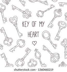 Keys doodle line black and white icons banner template vector illustration