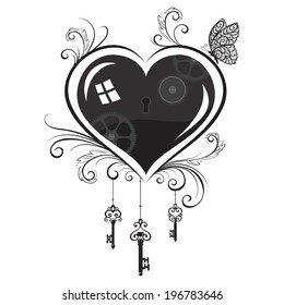 The keys to the heart. Vector illustration