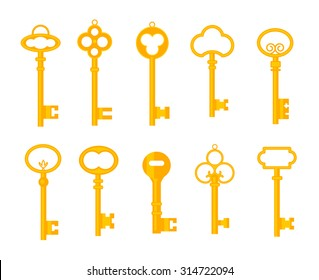 Keys icons set, isolated. Closing and opening doors. Gold keys signs and symbols collection. Locking and unlocking doors vintage keys pictogram, vector illustration.