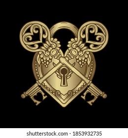 Keys and locks. Heart shaped padlock in luxury vintage engraved style with elegant keys.