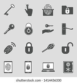 Keys And Locks Icons. Sticker Design. Vector Illustration.