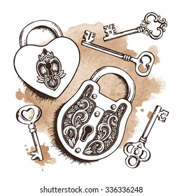 Keys and locks over watercolor background. Isolated Vector illustration. Heart shaped padlock with wings in vintage engraved style with elegant keys. Coloring book page for kids and adults