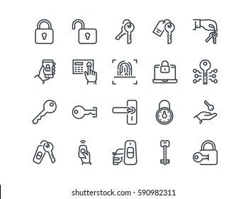 Keys and Locks. Set of outline vector icons. Includes such as Car Keys, Fingerprint and other. Editable Stroke. 48x48 Pixel Perfect.