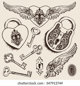 Keys and locks Vector illustration. Heart shaped padlock with wings in vintage engraved style with elegant keys. Coloring book page for kids and adults