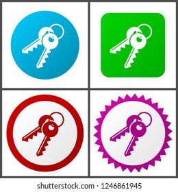 Keys red, blue, green and pink vector icon set. Web icons. Flat design signs and symbols easy to edit