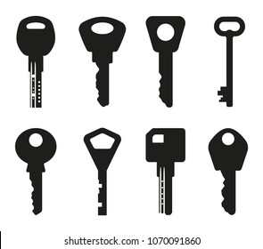 Keys silhouette collection. Key icon. Vector illustration