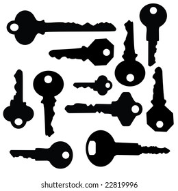 keys silhouette in vector mode