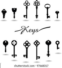 Keys Vector. Vintage key icon