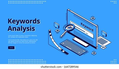 Keyword analysis isometric landing page. Seo keywording process research tool magnifying glass, long tail graph at computer monitor. Optimization service 3d vector illustration, line art, web banner