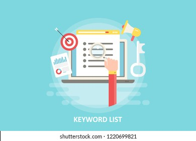 Keyword List - Keyword research - flat design vector with seo icons