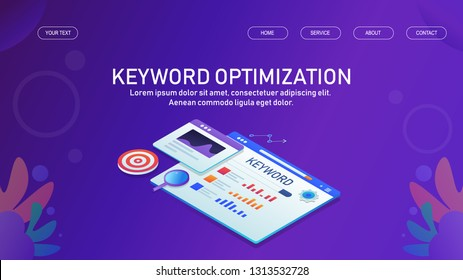 Keyword optimization, SEO keywords, Research and analysis, flat design 3D isometric banner with icons