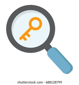 Keyword research flat icon, seo and development, magnifier sign vector graphics, a colorful solid pattern on a white background, eps 10.