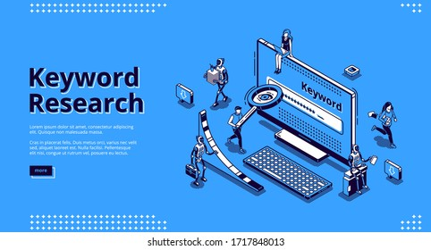 Keyword research isometric landing page. Seo keywording analysis tool. People and ai robots at huge pc monitor with long tail graph and magnifier. Optimization service 3d vector line art web banner