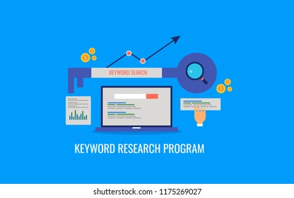 Keyword research program, SEO keywords, SEO marketing strategy flat design illustration with icons