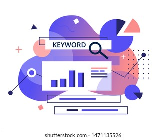 Keyword Research program-flat banner. Monitoring, Analysis and verification of site positions in search engines concept. SEO Marketing tools vector illustration.