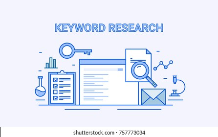 Keyword Research. Keyword selection, Search engine optimization and marketing flat vector line illustration with icons isolated  on light background