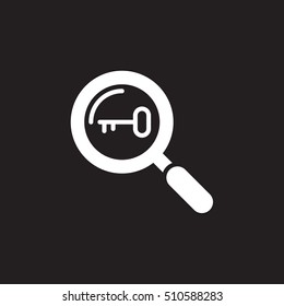 Keyword research symbol. magnifying glass and key icon vector, flat sign, solid pictogram isolated on black, logo illustration