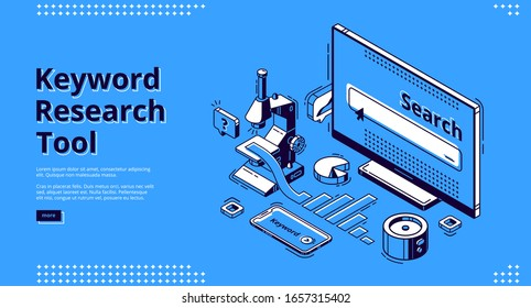 Keyword research tool isometric landing page. Microscope, smartphone, graph and pie chart lying around computer monitor. Seo optimization, analysis service 3d vector illustration, web banner line art