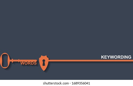 Keywording concept. Key hall with shield, vector