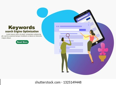 Keywording, SEO keyword research, keywords ranking optimization on search engine. Flat vector illustration of people looking at data and coding in website. - Vector illustration