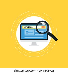 Keywording, SEO keywording process, keyword research, keywords optimization flat vector illustration design. Design for web banners and apps