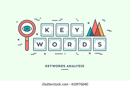 Keywords analysis, digital marketing concept, flat design thin line banner.