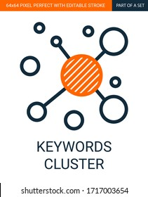 Keywords Cluster Simple Outline Vector Colorful Icon.
