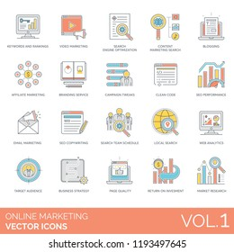 Keywords and rankings, blogging, branding service, campaign tweaks, clean code, seo performance, copywriting, team schedule, web analytics, target audience, strategy online marketing vector icons.