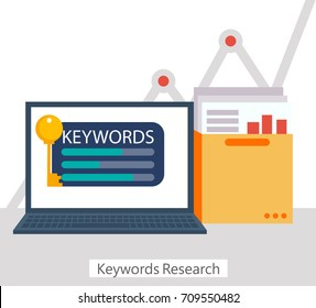 Keywords Research banner. Laptop with a folder of documents and graphs and key. Vector flat illustration