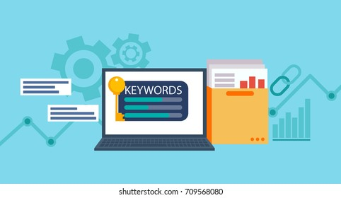 Keywords tool word matching program.   Laptop with a folder of documents and graphs and key. Vector flat illustration