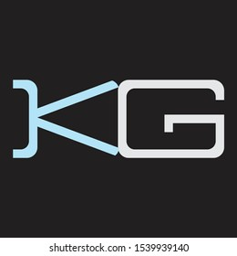 KG Abstrac logo vector Monogram isolated on black background