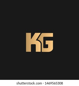 KG or GK logo vector. Initial letter logo, golden text on black background