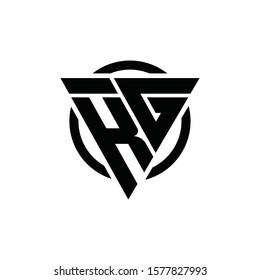 KG GK Triangle Logo Circle Monogram Design Vector Super Hero Concept