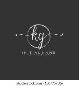 KG Initial handwriting logo vector