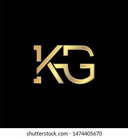 KG Initial logo Capital Letters Gold colors