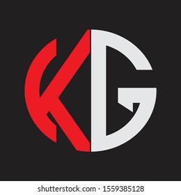 KG Initial Logo design Monogram Isolated on black background