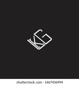 KG Initial Logo letters with rotate squere template