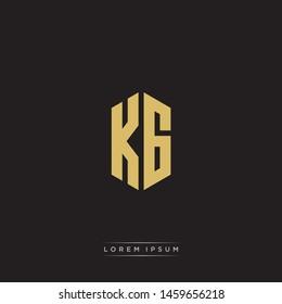 KG K G Logo Emblem Hexagon Capital Letter Modern Template