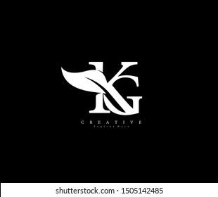 KG letter linked luxury flourishes ornate logotype